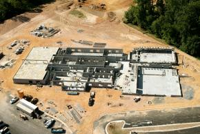 Aerial photograph of construction progress of Eagle View Elementary School, taken on September 28, 2005. The foundation is in place. Walls are up throughout most of the building and construction of the second floor is commencing on the south side.