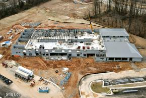 Aerial photograph of construction progress of Eagle View Elementary School, taken on January 1, 2006. Construction of the second floor is well underway. The north section of the building is under roof.