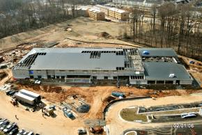 Aerial photograph of construction progress of Eagle View Elementary School, taken on February 1, 2006. The vast majority of the building is under roof.